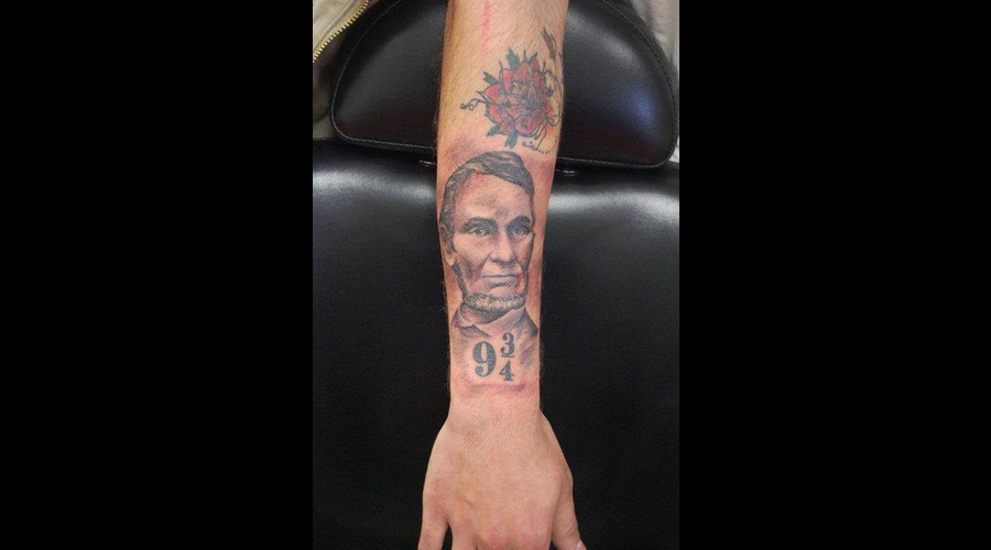 Abe Lincoln Tattoo Black Grey Forearm