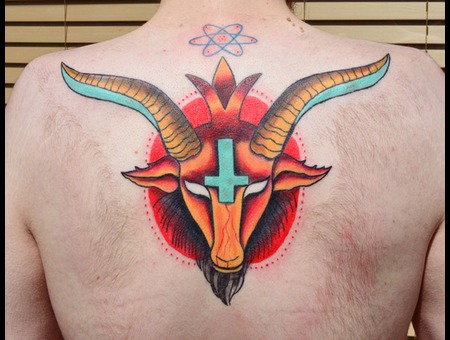 Satanic  Goat  Inverted Cross  Back Tattoo Color