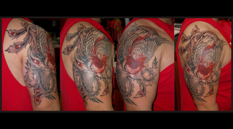 Phoenix Pheonix Oriental Bird Peacock Halfsleeve Color Arm