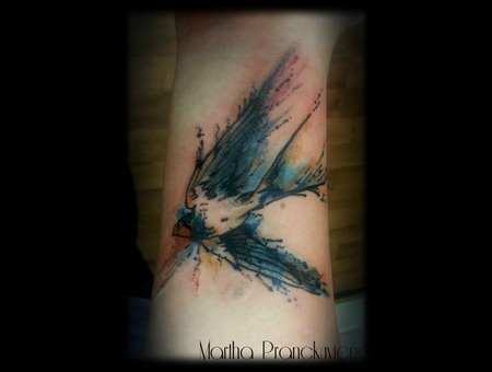 Watercolour  Swallow  Wrist Tattoo   Watercolor   Color