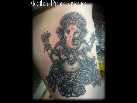 Ganesh  Hindu  Bicep Tattoo   Black White