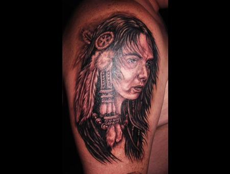 Portrait  Native American Indian  Feathers Black Grey Shoulder