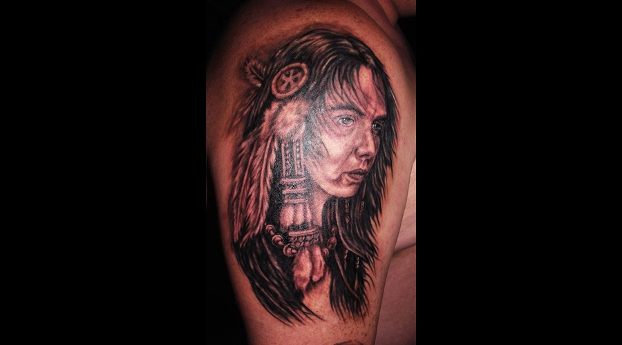 Portrait  Native American Indian  Feathers Black Grey Shoulder