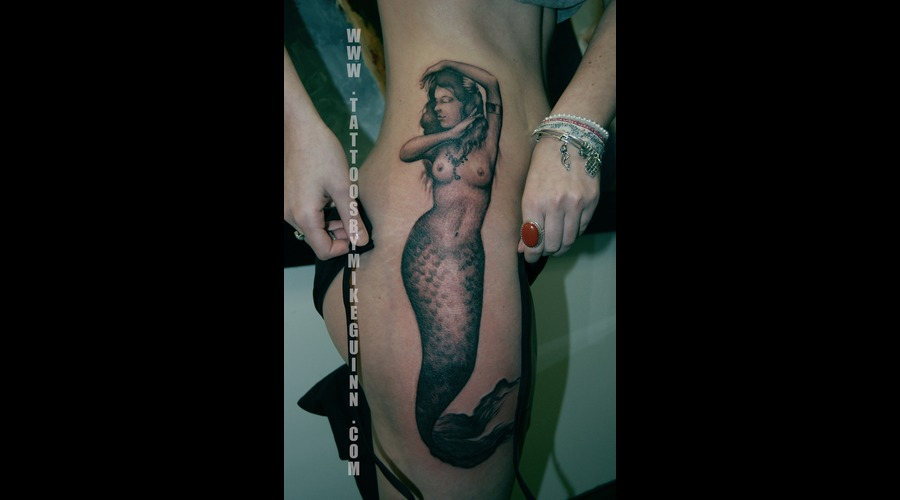 Mermaid Tattoo Black White Thigh