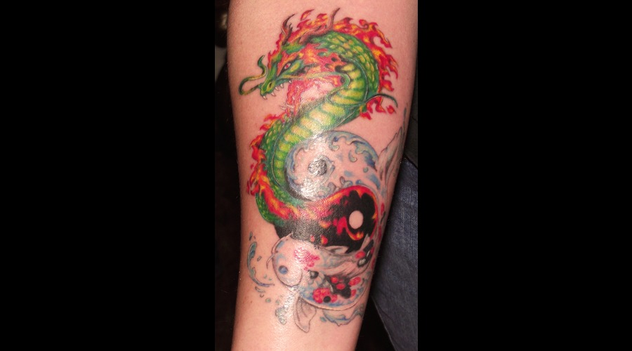 Yin Yang  Dragon  Koi Color Forearm