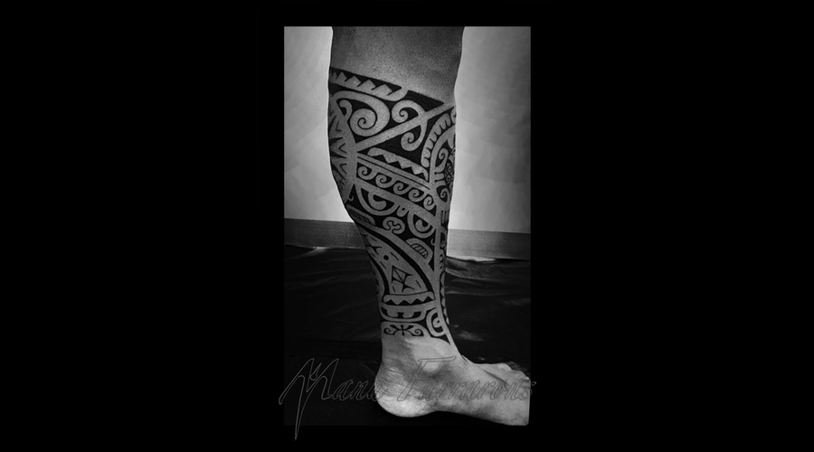Tahitian  Polynesian  Freehand  Meanings Black Grey Lower Leg