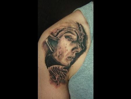 Valkyrie Portrait Realism Woman Warrior Viking Black White
