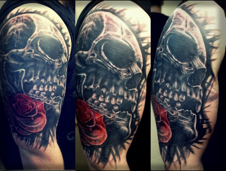Skull Rose Black White