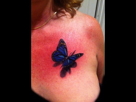 3d Butterfly Tattoo Color Chest