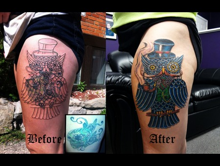 Owl Tattoo Coverup Tattoo Color Thigh