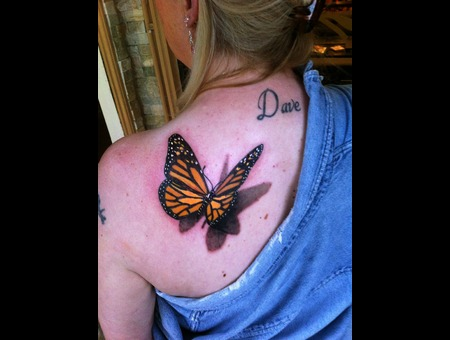 3d Butterfly Tattoo Color Shoulder