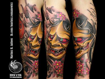 Hanya Tattoo.Color Japanese Mask Demon  Color