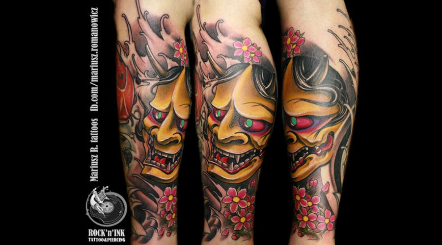 Hanya Tattoo.Color Japanese Mask Demon  Color