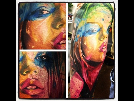 Portrait Watercolor Abstract Gonzo Sexy Color Forearm