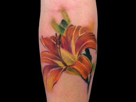 Lily Flower Realism Color Forearm
