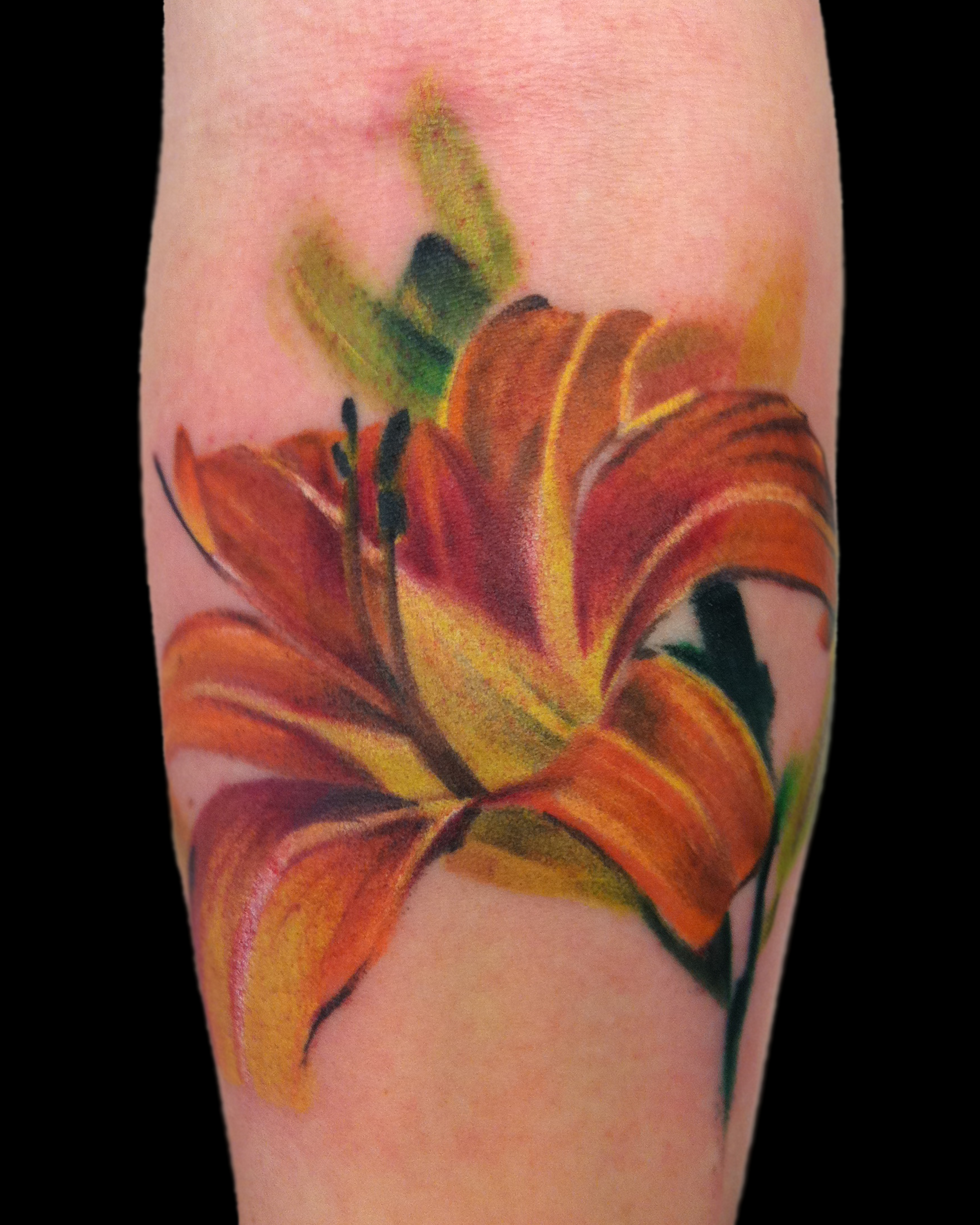 Browse worlds largest tattoo image gallery trueartists lily flower realism color forearm izmirmasajfo Choice Image