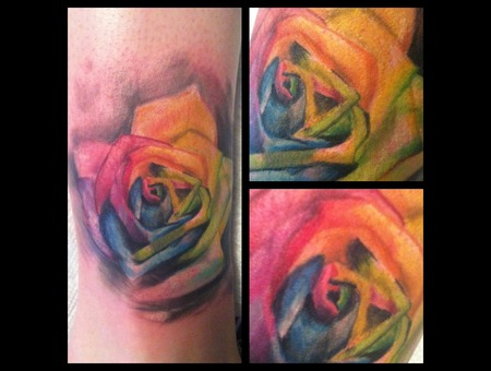 Rose Rainbow Abstract Watercolor Trash Gonzo Color Lower Leg