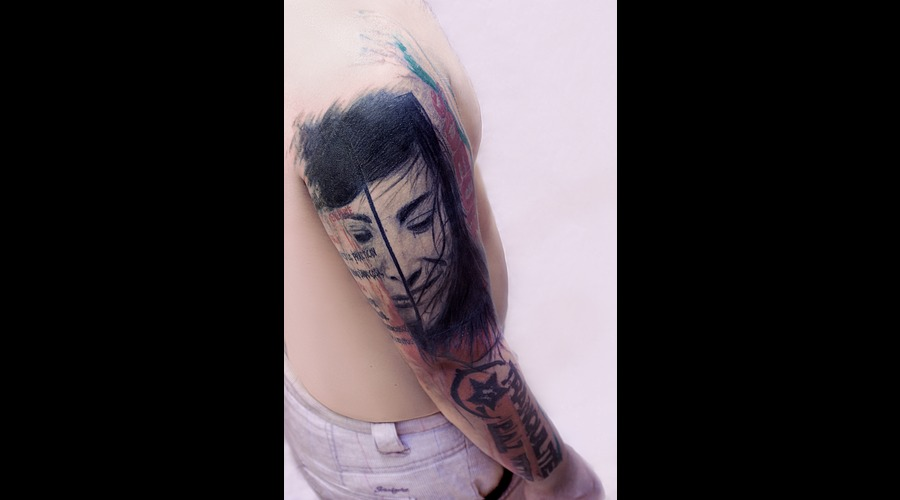 Full Sleeve  Trash Polka  Tribute  Syster  Portrait Color Arm