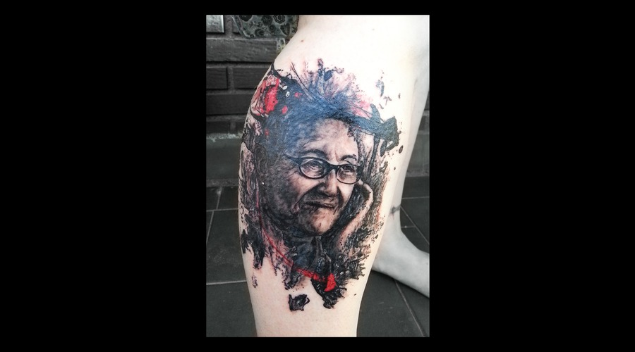 Trash Polka  Tribute  Grandmother Portrait Color Lower Leg