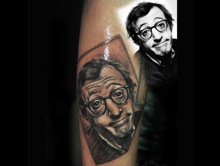 Woody Allen Portrait Black Grey Arm