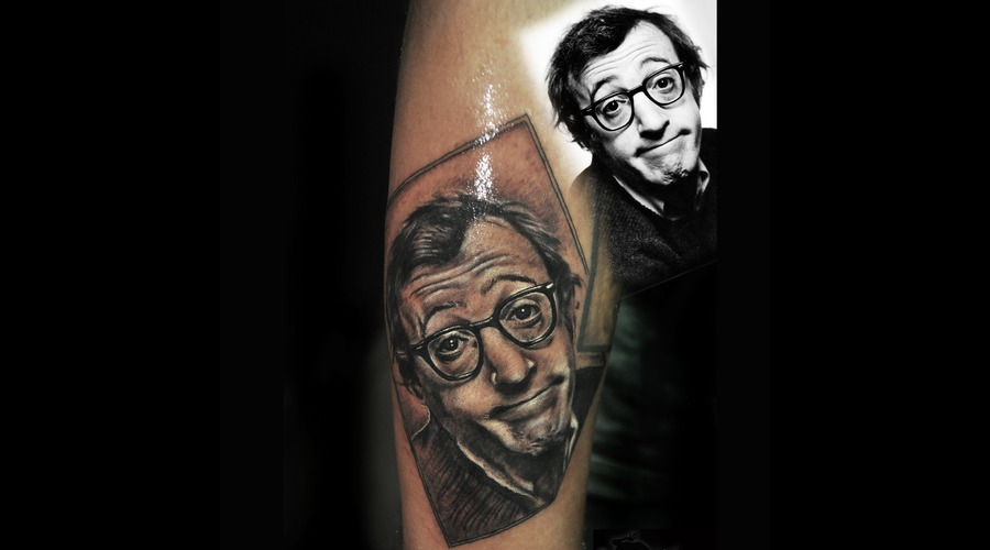 Woody Allen Portrait Black Grey Arm