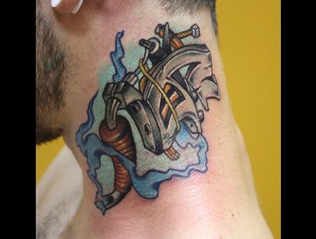 Neck Tattoomachine Machine Color Color Neck