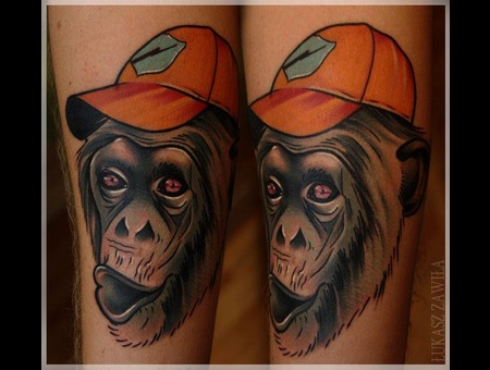 Monkey Color Animaltattoo Color Arm