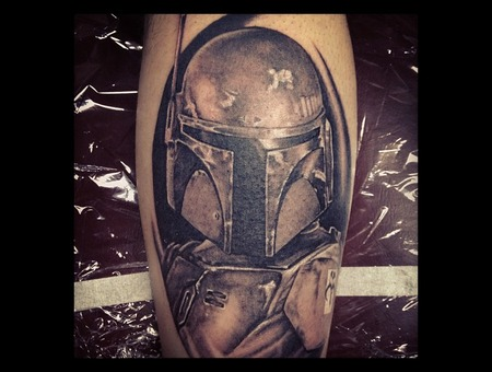 Boba Fett  Star Wars Black Grey Lower Leg