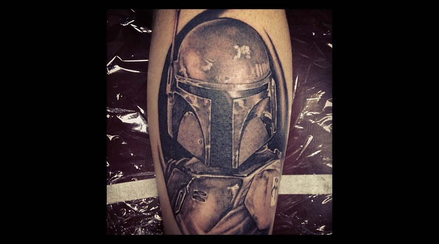Boba Fett  Star Wars Black Grey Lower Leg