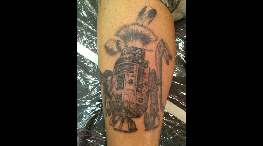 R2d2  Star Wars  Native American Black Grey Lower Leg