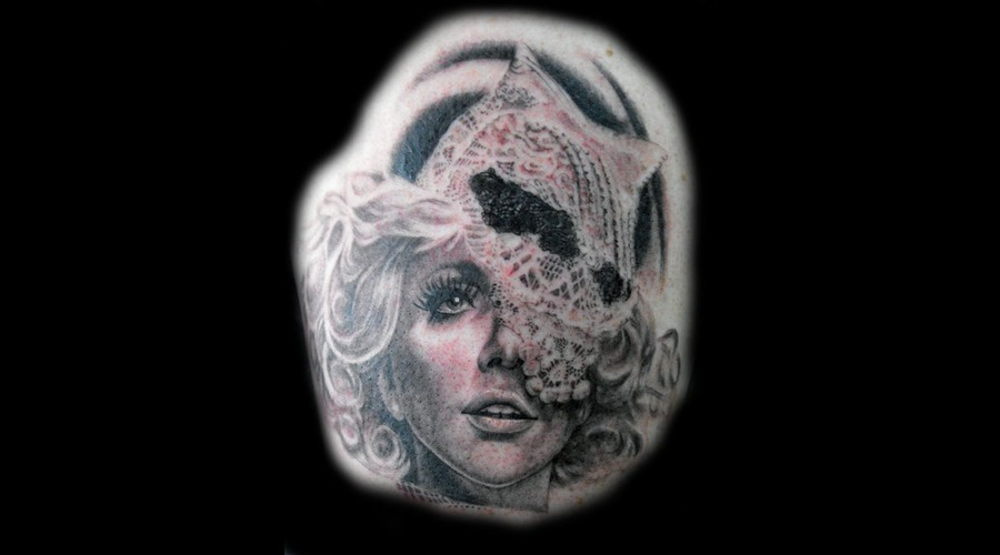 Lady Gaga  Portrait Black Grey Back