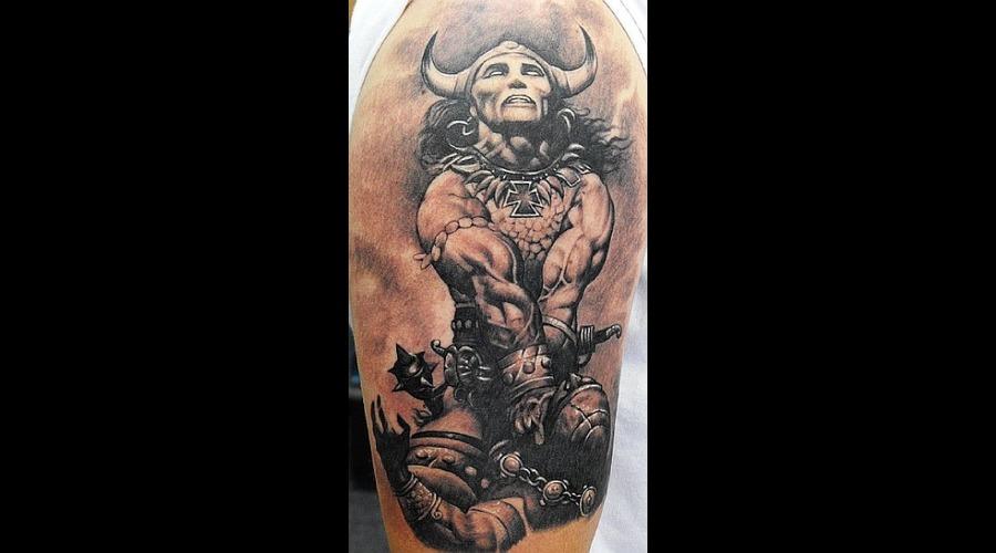 Conan  Fantasy Black Grey Shoulder