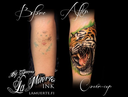 Tiger Tattoo  Cover Up Tattoo Color Forearm