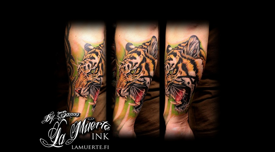 Tiger Tattoo Color Forearm