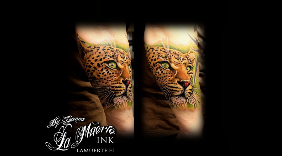 Leopard Tattoo Color Forearm