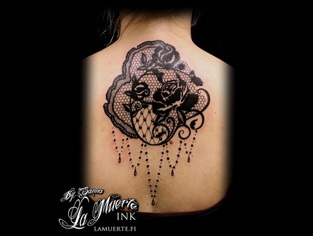 Lace Tattoo Black Grey Back