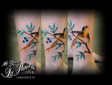 Bird Tattoo Color Lower Leg