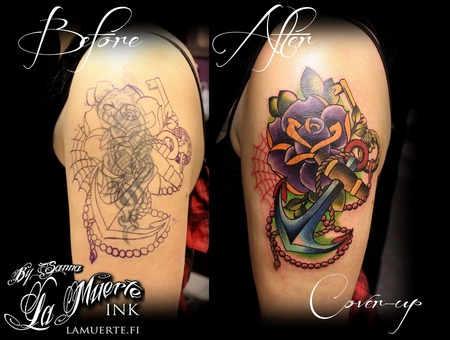 Rose Tattoo  Anchor Tattoo  Cover Up Tattoo Color Arm