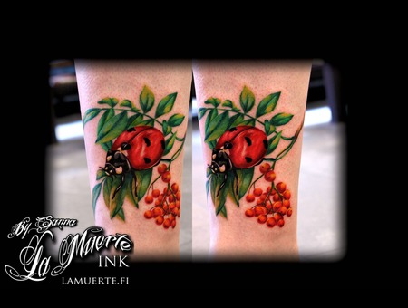 Ladybug Tattoo Color Lower Leg