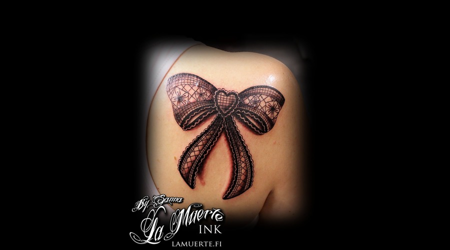 Lace Tattoo  Bow Tattoo Black Grey Back