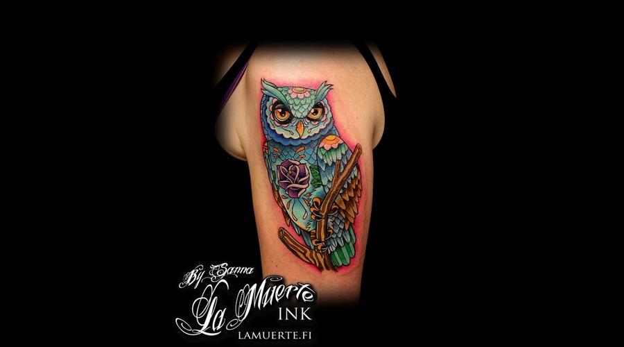 Owl Tattoo Color Arm