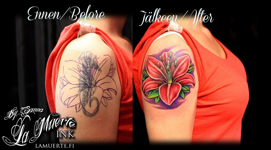 Lily Tattoo  Cover Up Tattoo Color Arm