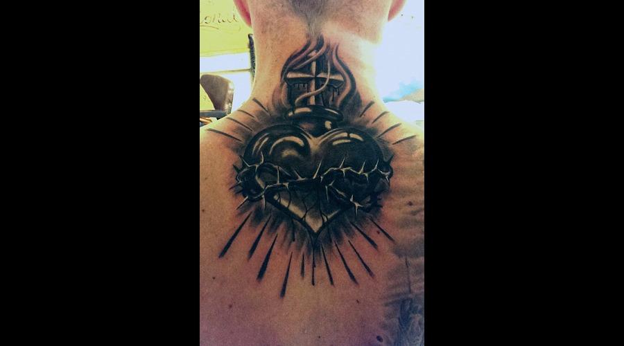 Heart Black Grey Back