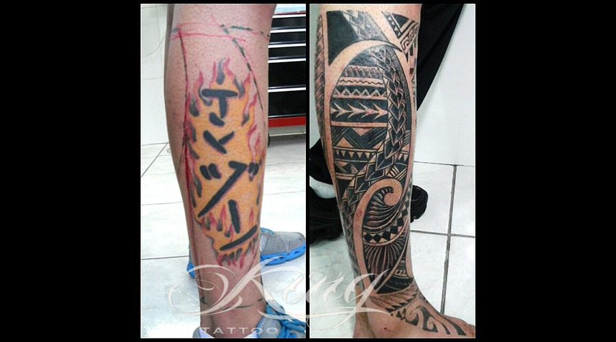 Polynesian  Samoan  Cover Up Black Grey Lower Leg