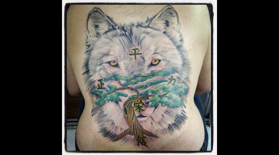 Realistic Tattoo  Realism  Wolf Color Back