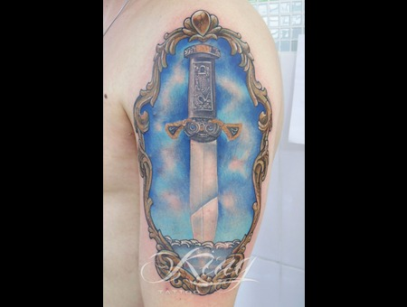 Realistic Tattoo  Dagger  Filigree Color