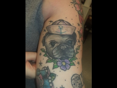 Pug  Traditional  Sailor  Pet Color Arm