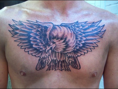 Traditional  Eagle  Chest  Chest Piece  Black And Grey Black Grey Chest