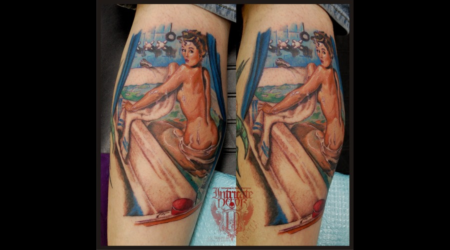 Pinup Peeping Bathhtub Wet Water Naked Color Lower Leg