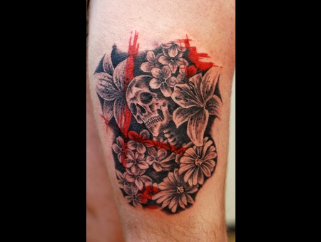 Trash Polka Flowers Skull Color Thigh